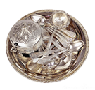 Silver Trays and Flatware