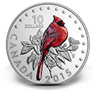 2015 $10 Colourful Songbirds of Canada Northern Cardinal